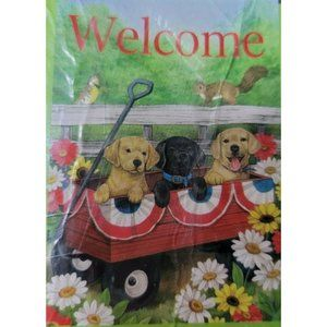 """Welcome Small Art Garden Flag 12.5"""" X 18"""" Dogs NEW"""